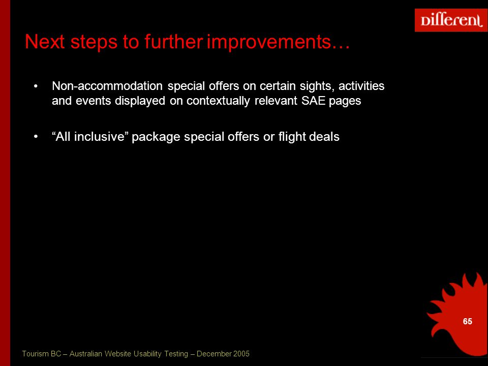 Tourism BC – Australian Website Usability Testing – December 2005 65 Next steps to further improvements… Non-accommodation special offers on certain sights, activities and events displayed on contextually relevant SAE pages All inclusive package special offers or flight deals