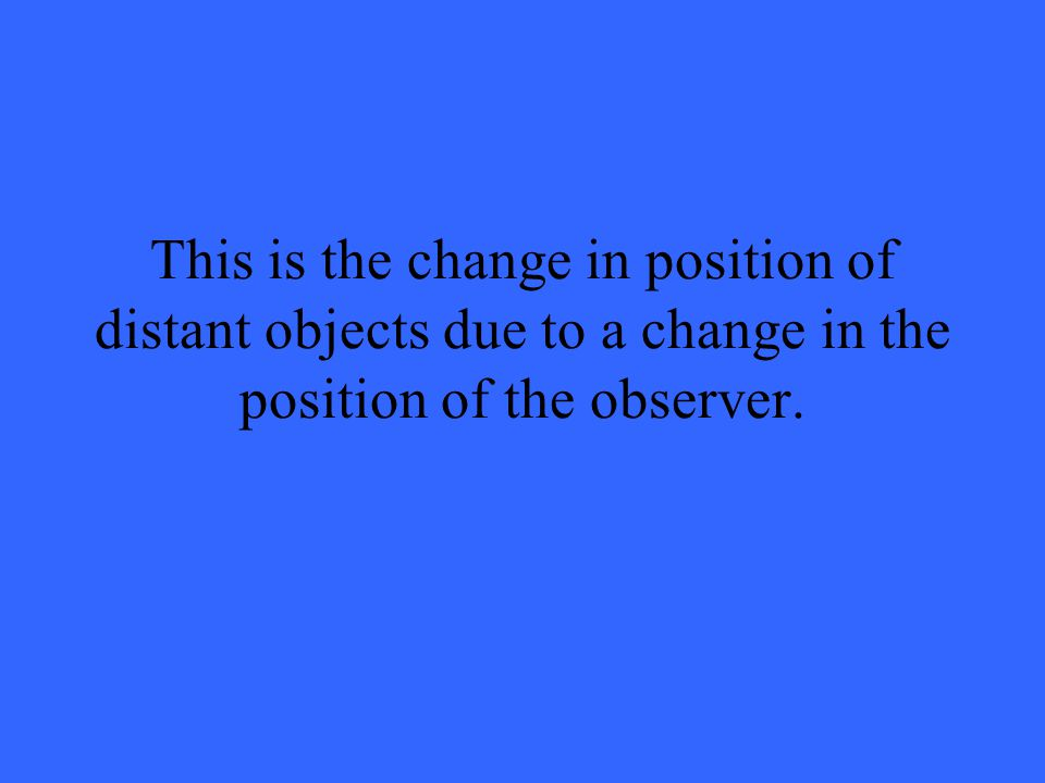 This is the change in position of distant objects due to a change in the position of the observer.