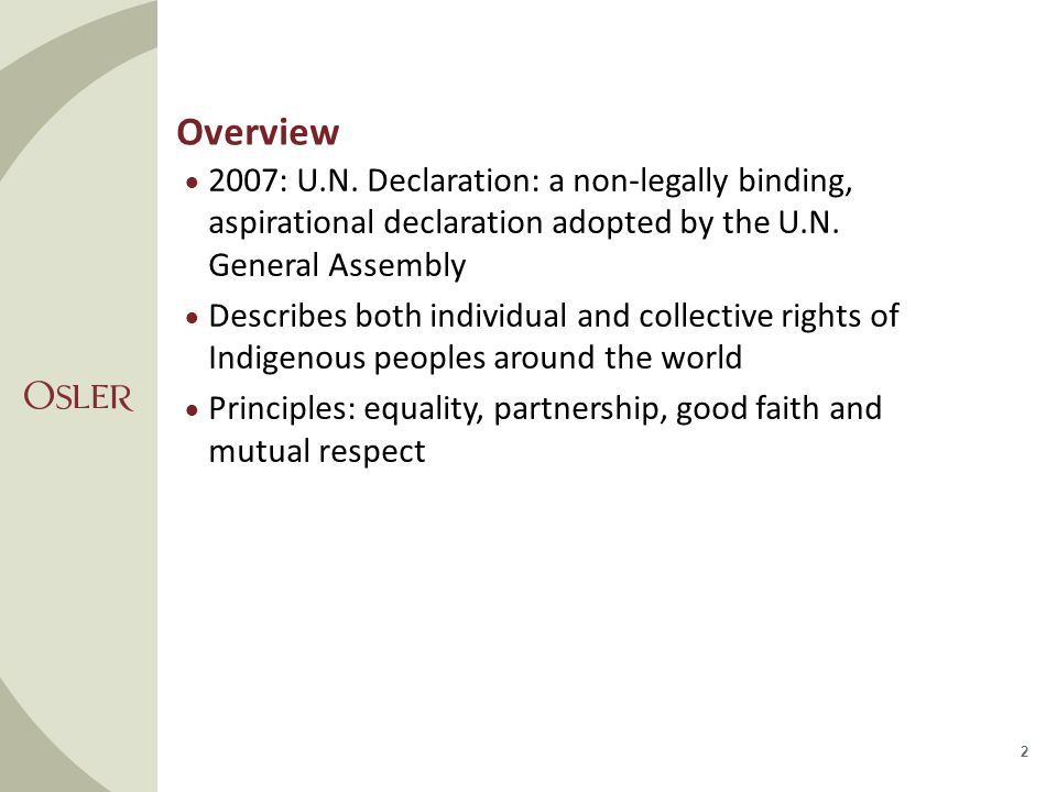 Overview Incompatible with Canada's Constitution Self-government  Article 4: Indigenous peoples, in exercising their right to self determination, have the right to autonomy or self- government in matters relating to their internal and local affairs, as well as ways and means for financing their autonomous functions.