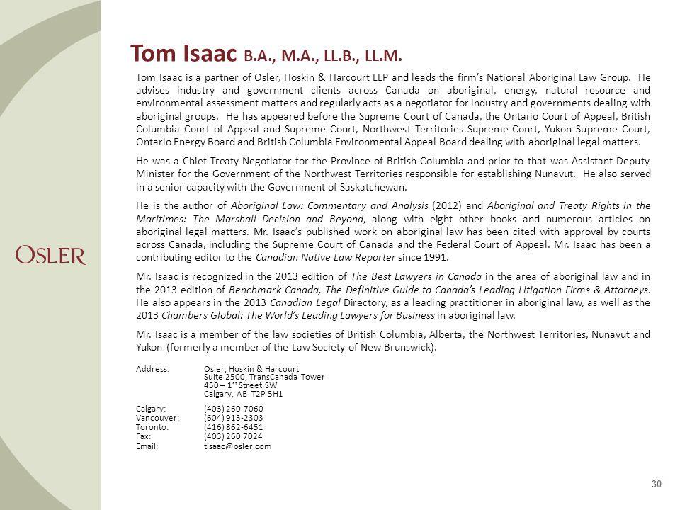 Tom Isaac B.A., M.A., LL.B., LL.M.