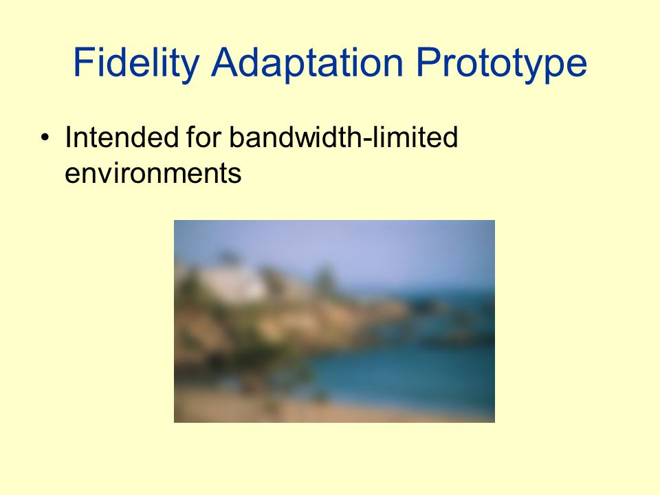 Fidelity Adaptation Prototype Intended for bandwidth-limited environments