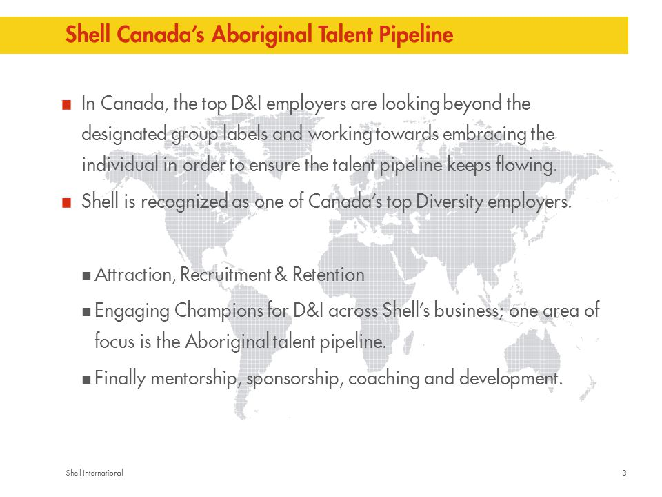 3Shell International Shell Canada's Aboriginal Talent Pipeline In Canada, the top D&I employers are looking beyond the designated group labels and working towards embracing the individual in order to ensure the talent pipeline keeps flowing.