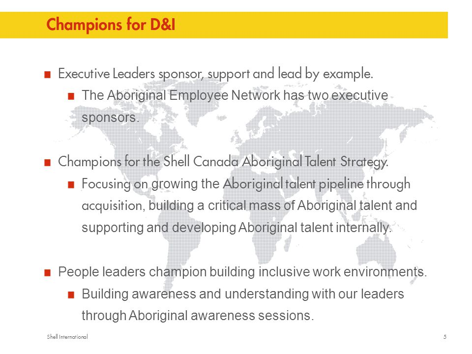 5Shell International Champions for D&I Executive Leaders sponsor, support and lead by example.