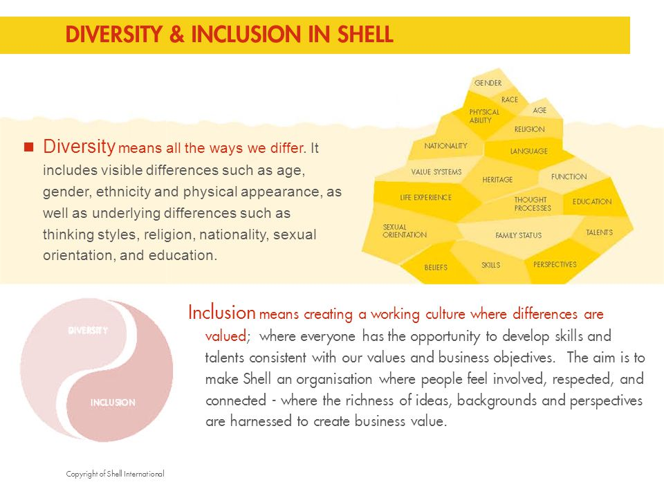 Copyright of Shell International DIVERSITY & INCLUSION IN SHELL Inclusion means creating a working culture where differences are valued; where everyone has the opportunity to develop skills and talents consistent with our values and business objectives.