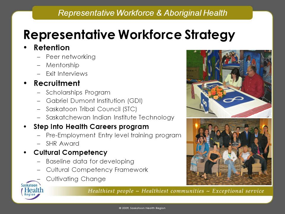 Representative Workforce & Aboriginal Health Aboriginal Health Strategy – recommendations from Strengthening the Circle project Aboriginal Health Council –TOR to be presented in November for final approval by member leadership Translation Services Cultural Spiritual Helpers SK Children's Hospital Aboriginal Health