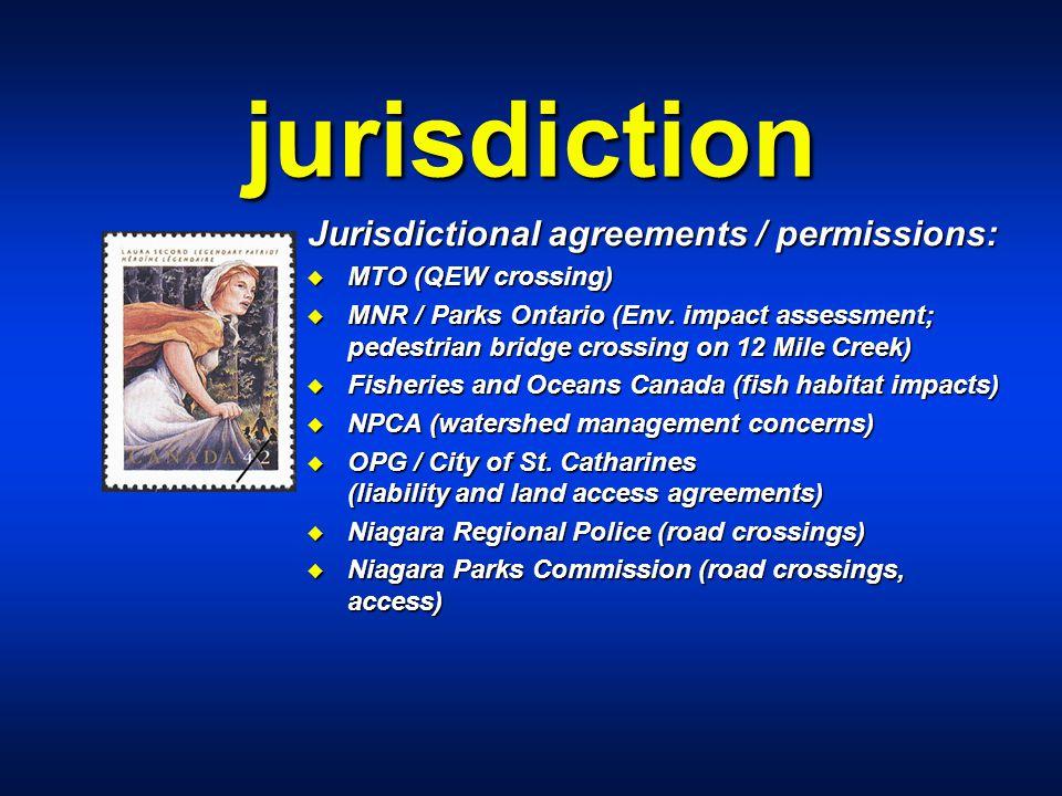 jurisdiction Jurisdictional agreements / permissions: u MTO (QEW crossing) u MNR / Parks Ontario (Env. impact assessment; pedestrian bridge crossing o