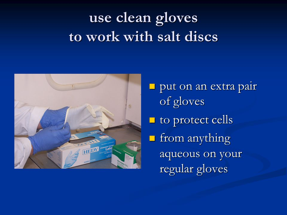 use clean gloves to work with salt discs put on an extra pair of gloves to protect cells from anything aqueous on your regular gloves