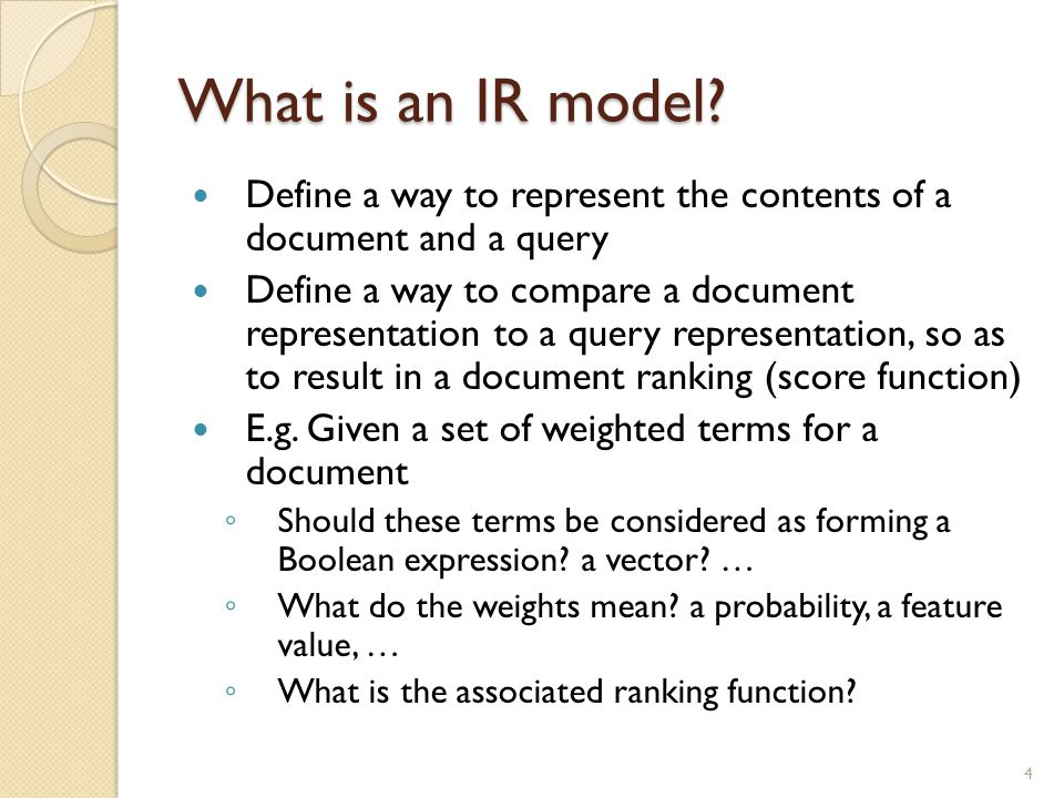IR model - Vector space model Assumption: Each term corresponds to a dimension in a vector space Vector space = all the keywords encountered Document D = a i = weight of t i in D Query Q = b i = weight of t i in Q R(D,Q) = Sim(D,Q) 15