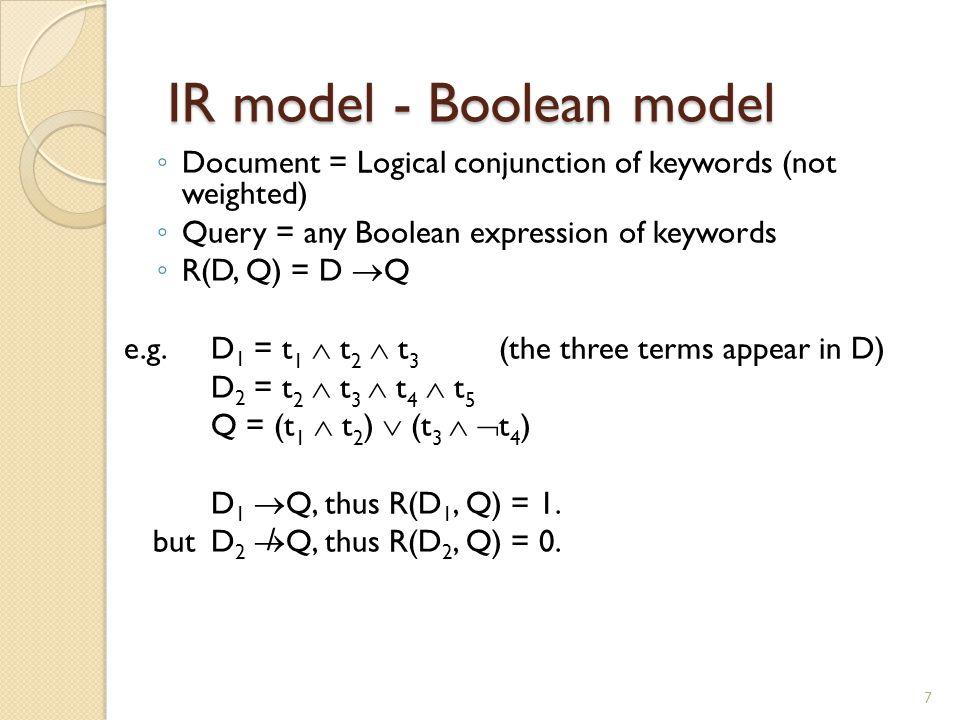 Properties Desirable ◦ R(D,Q ∧ Q)=R(D,Q ∨ Q)=R(D,Q) ◦ R(D,D)=1 ◦ R(D,Q ∨ ¬Q)=1 ◦ R(D,Q ∧ ¬Q)=0 Undesirable ◦ R(D,Q)=0 or 1 8