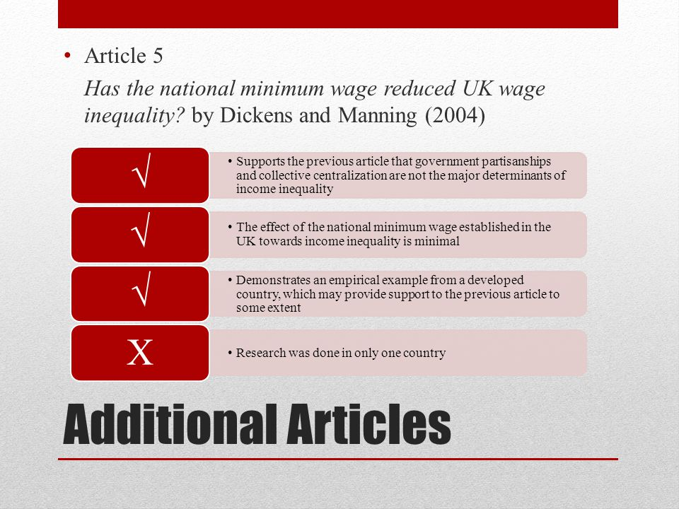 Additional Articles Article 5 Has the national minimum wage reduced UK wage inequality.