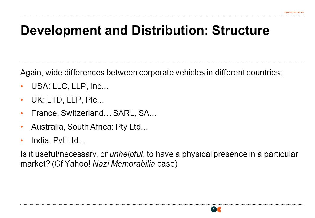 osborneclarke.com 21 Development and Distribution: Structure Again, wide differences between corporate vehicles in different countries: USA: LLC, LLP, Inc...