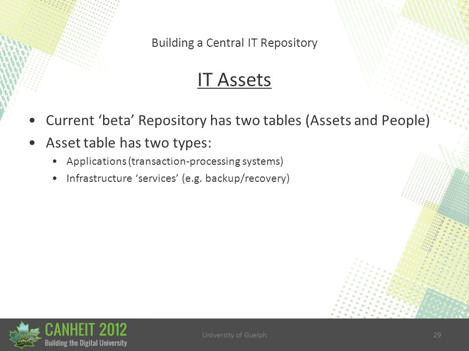 University of Guelph29 Building a Central IT Repository IT Assets Current 'beta' Repository has two tables (Assets and People) Asset table has two types: Applications (transaction-processing systems) Infrastructure 'services' (e.g.