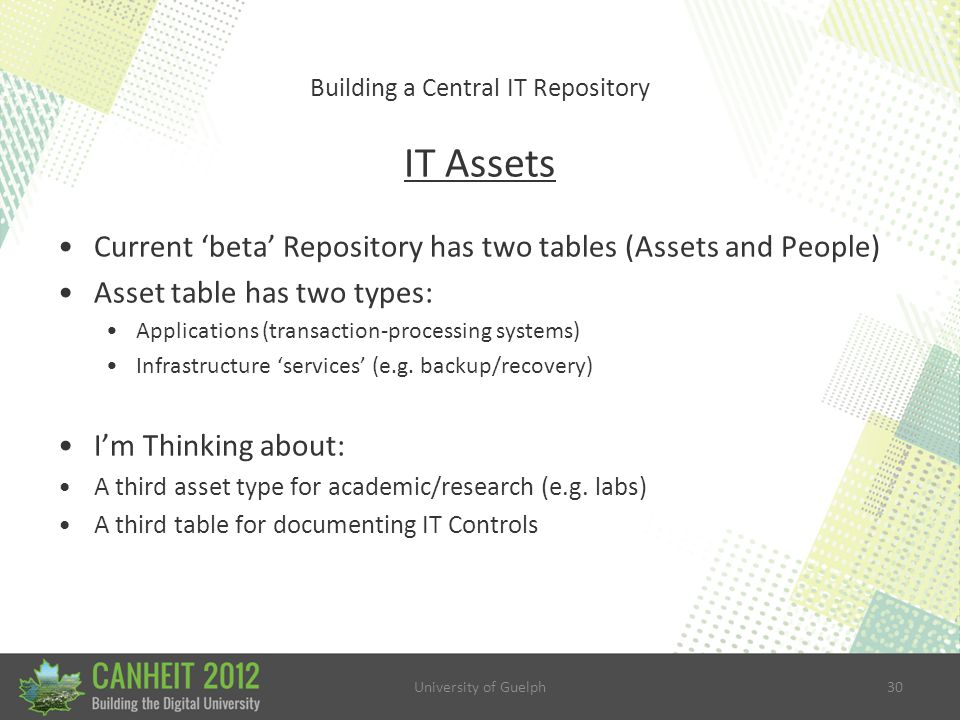 University of Guelph30 Building a Central IT Repository IT Assets Current 'beta' Repository has two tables (Assets and People) Asset table has two types: Applications (transaction-processing systems) Infrastructure 'services' (e.g.