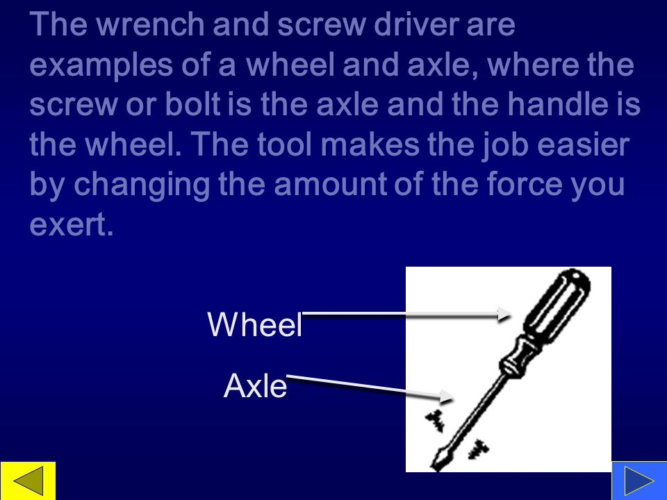 The wrench and screw driver are examples of a wheel and axle, where the screw or bolt is the axle and the handle is the wheel.