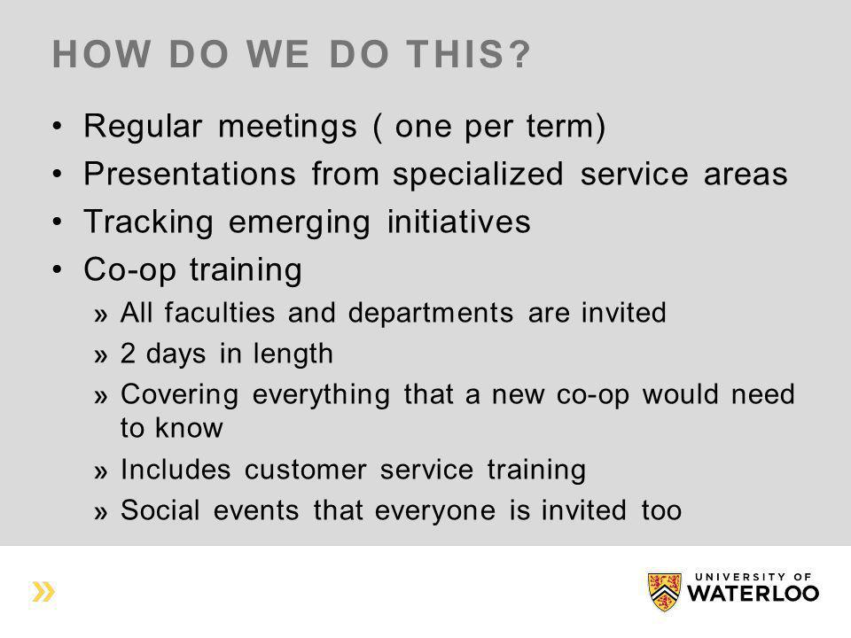 HOW DO WE DO THIS? Regular meetings ( one per term) Presentations from specialized service areas Tracking emerging initiatives Co-op training All facu