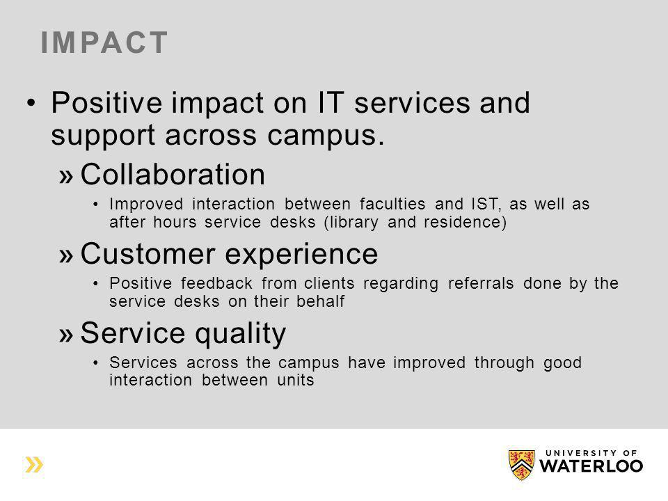 IMPACT Positive impact on IT services and support across campus. Collaboration Improved interaction between faculties and IST, as well as after hours