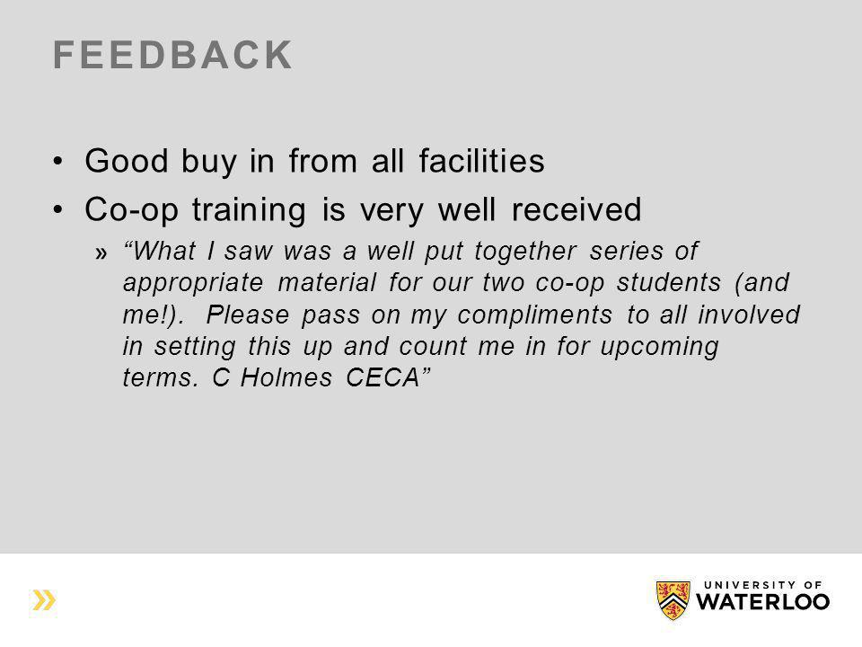 """FEEDBACK Good buy in from all facilities Co-op training is very well received """"What I saw was a well put together series of appropriate material for o"""