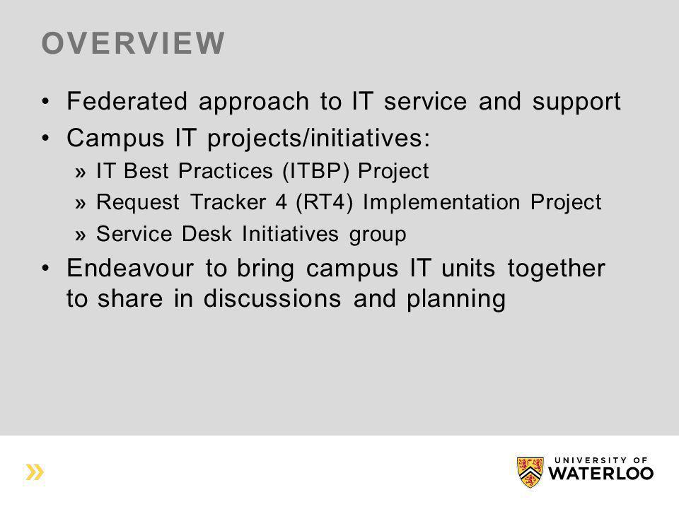 OVERVIEW Federated approach to IT service and support Campus IT projects/initiatives: IT Best Practices (ITBP) Project Request Tracker 4 (RT4) Impleme