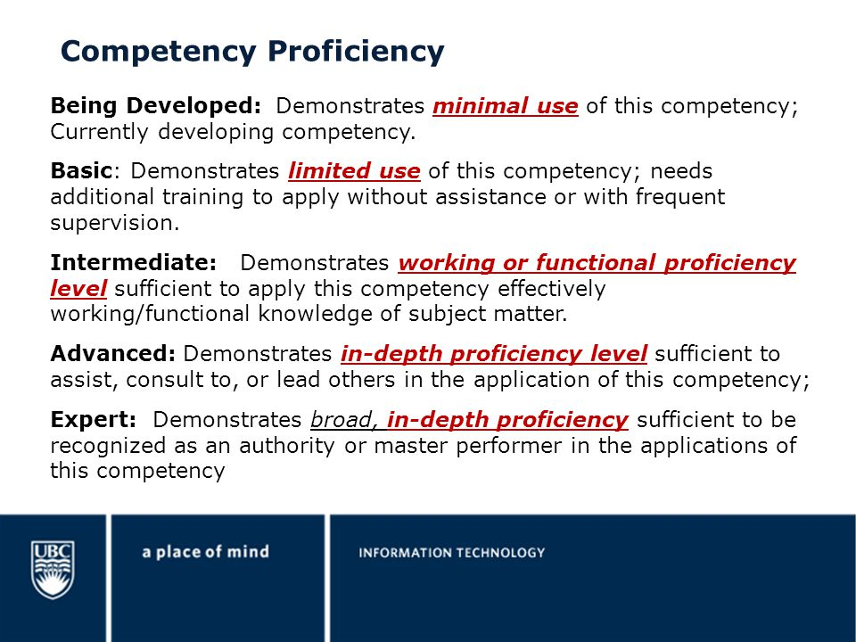 Competency Proficiency Being Developed: Demonstrates minimal use of this competency; Currently developing competency. Basic: Demonstrates limited use