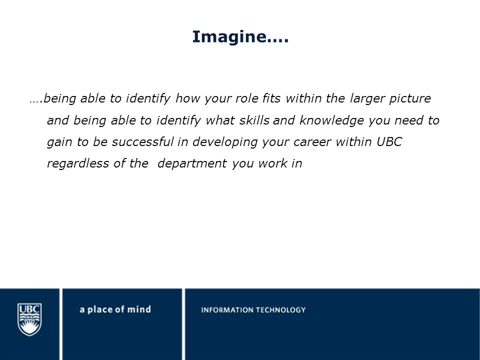 Imagine…. ….being able to identify how your role fits within the larger picture and being able to identify what skills and knowledge you need to gain