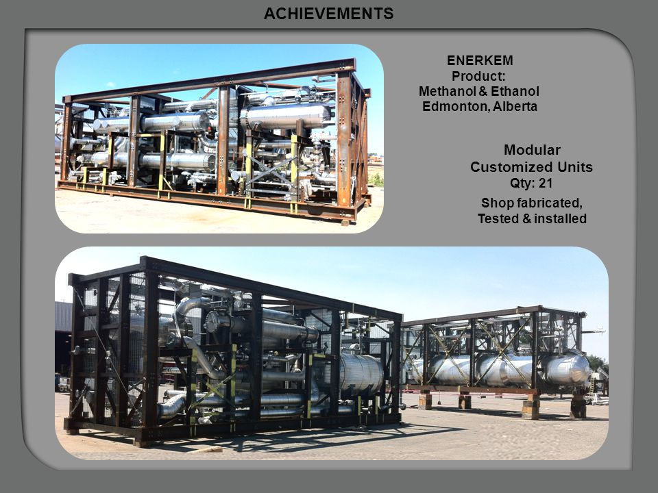 Plant Lay-out Industry: Bio-Fuels Feedstock: Municipal solid waste Modular Customized Units Qty: 21 Shop fabricated, Tested & installed ACHIEVEMENTS E