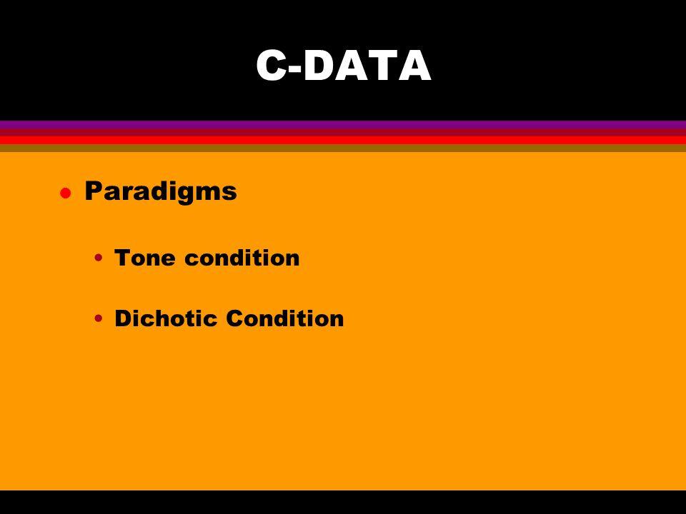 C-DATA l Paradigms Tone condition Dichotic Condition