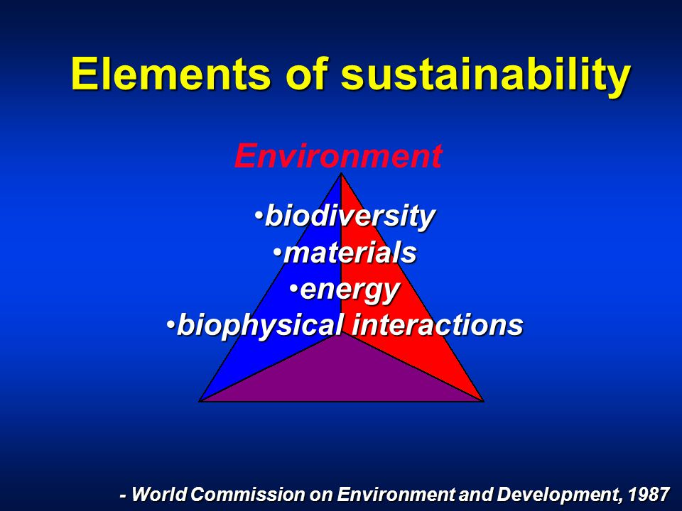 Elements of sustainability Environment - World Commission on Environment and Development, 1987 biodiversitybiodiversity materialsmaterials energyenergy biophysical interactionsbiophysical interactions