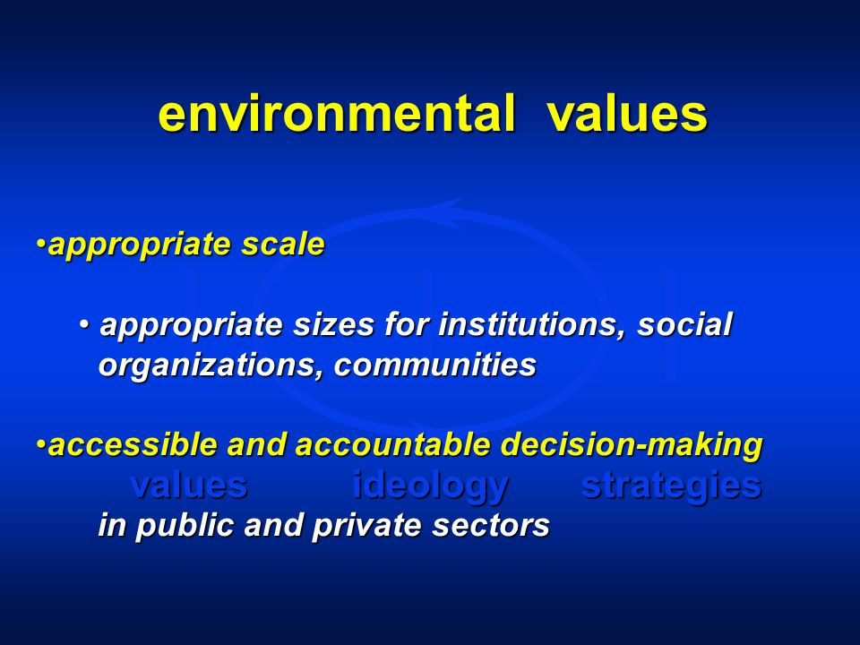 environmental values valuesideologystrategies appropriate scaleappropriate scale appropriate sizes for institutions, social appropriate sizes for institutions, social organizations, communities organizations, communities accessible and accountable decision-makingaccessible and accountable decision-making in public and private sectors in public and private sectors