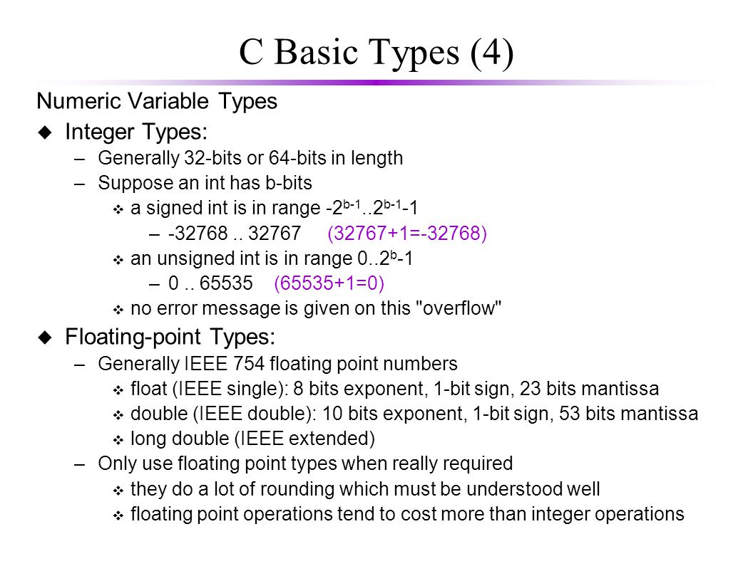 Example The sizeof() function returns the number of bytes in a data type.