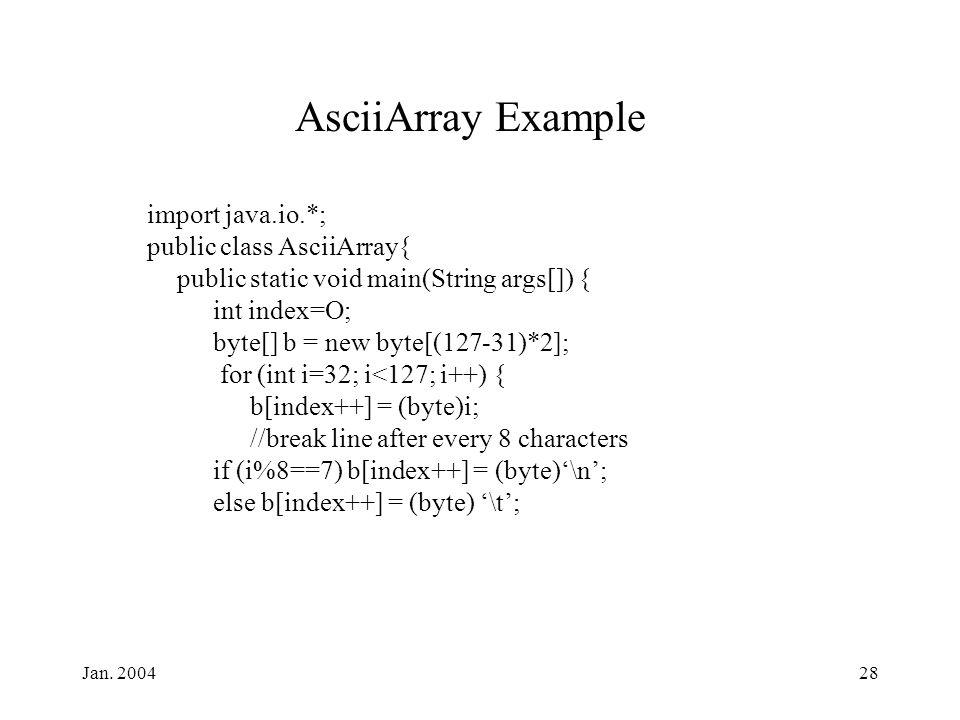 Jan. 200428 AsciiArray Example import java.io.*; public class AsciiArray{ public static void main(String args[]) { int index=O; byte[] b = new byte[(1