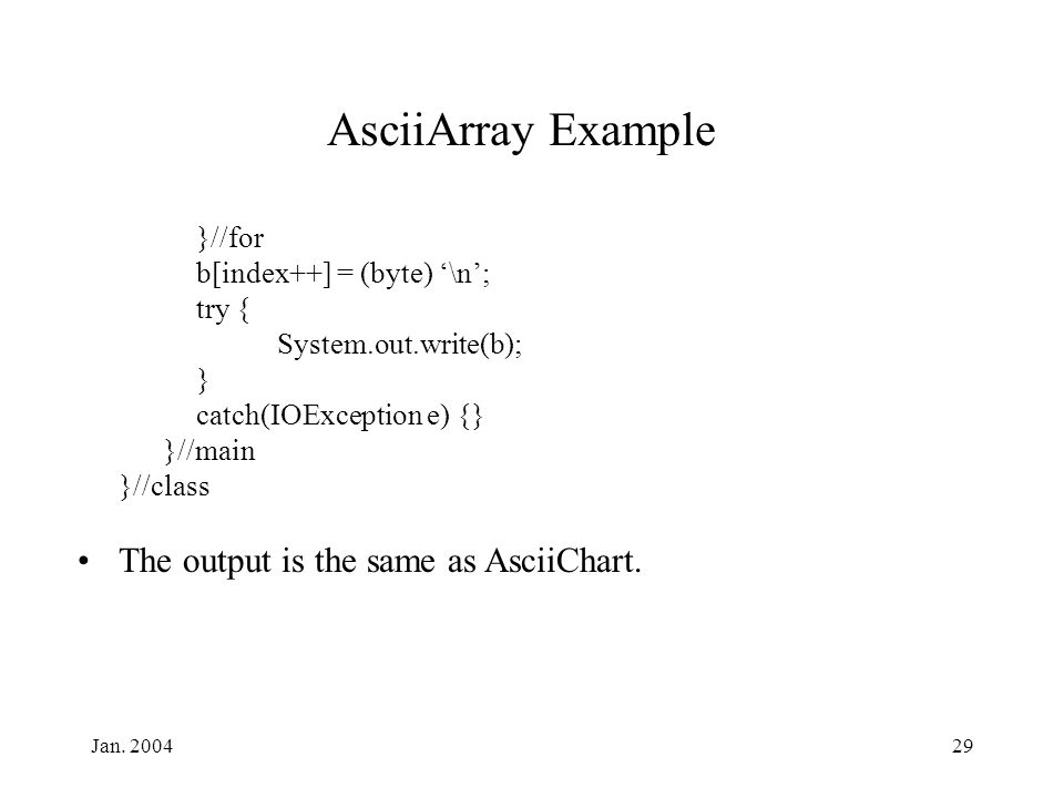 Jan. 200429 AsciiArray Example }//for b[index++] = (byte) '\n'; try { System.out.write(b); } catch(IOException e) {} }//main }//class The output is th