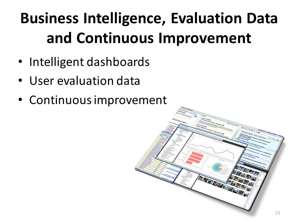 Business Intelligence, Evaluation Data and Continuous Improvement Intelligent dashboards User evaluation data Continuous improvement 21