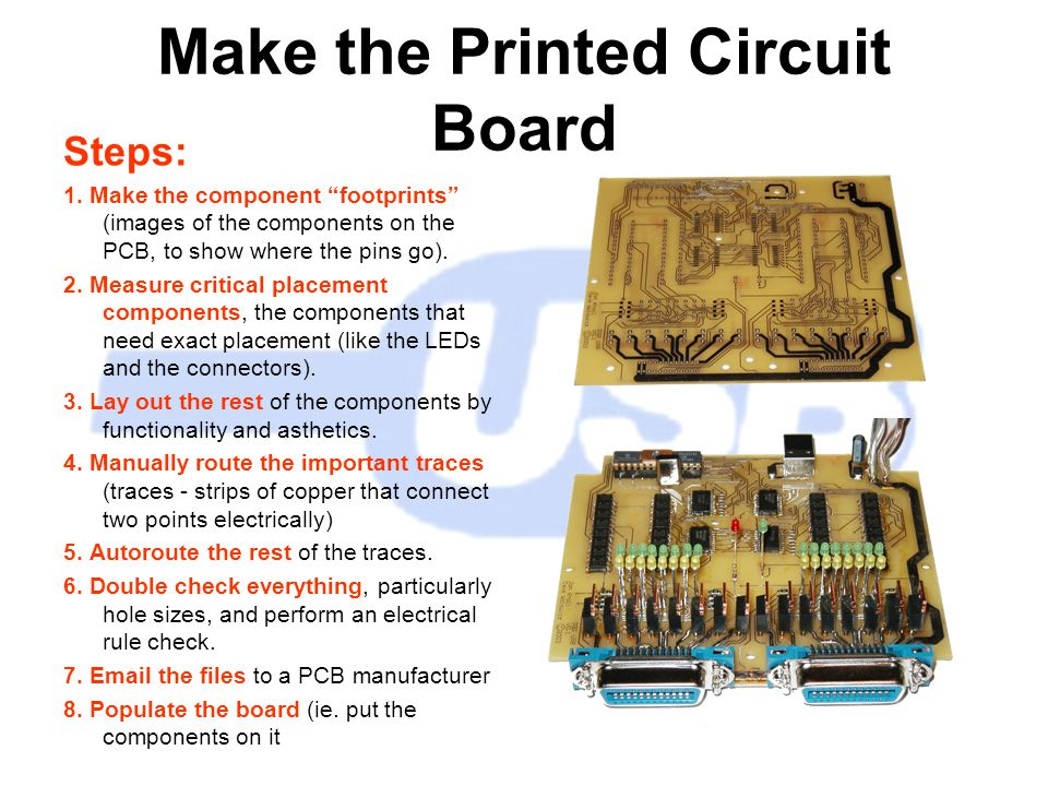 Make the Printed Circuit Board Steps: 1.