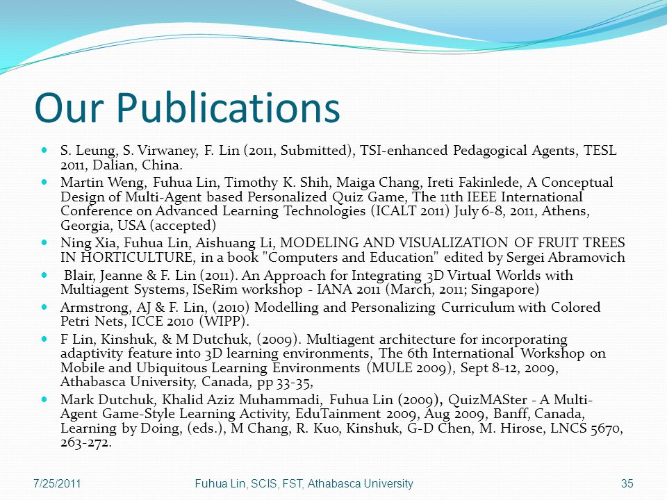 Our Publications S. Leung, S. Virwaney, F.