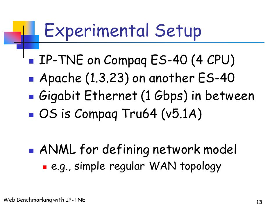 Web Benchmarking with IP-TNE 13 Experimental Setup IP-TNE on Compaq ES-40 (4 CPU) Apache (1.3.23) on another ES-40 Gigabit Ethernet (1 Gbps) in between OS is Compaq Tru64 (v5.1A) ANML for defining network model e.g., simple regular WAN topology