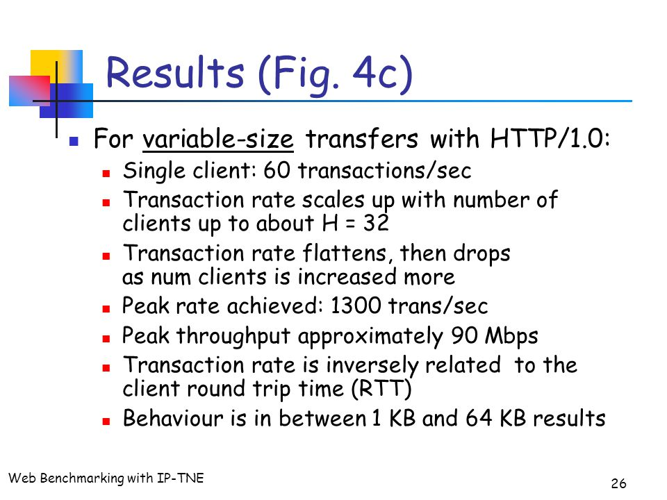 Web Benchmarking with IP-TNE 26 Results (Fig.