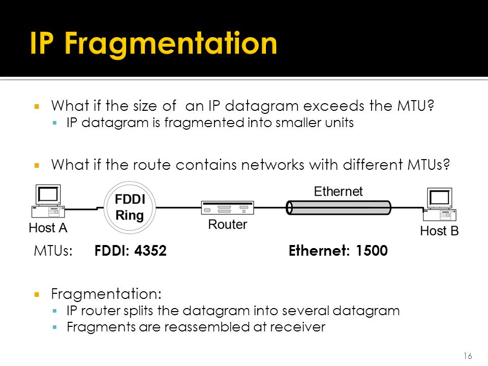  What if the size of an IP datagram exceeds the MTU.