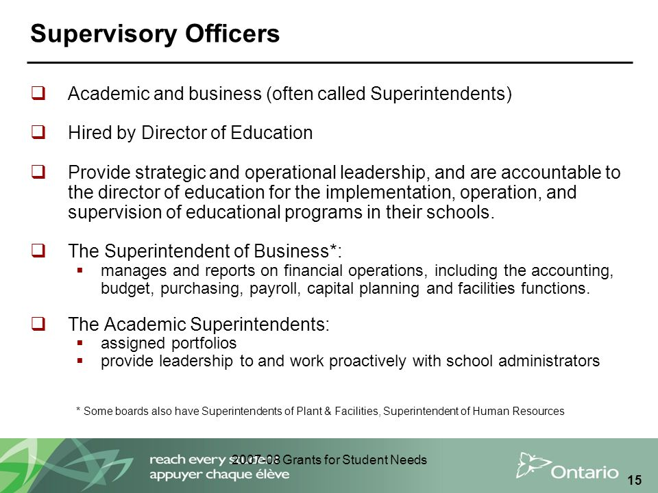 2007-08 Grants for Student Needs 15 Supervisory Officers  Academic and business (often called Superintendents)  Hired by Director of Education  Pro