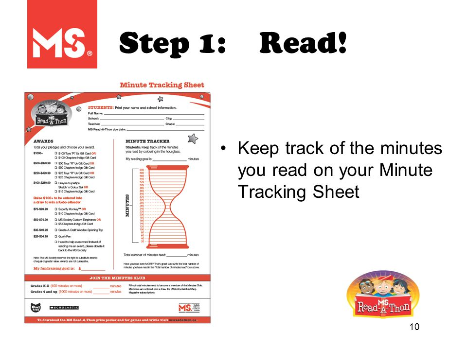 10 Step 1:Read! Keep track of the minutes you read on your Minute Tracking Sheet