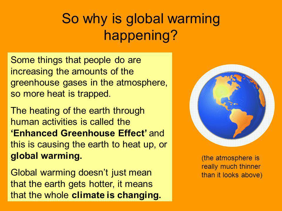 So why is global warming happening? (the atmosphere is really much thinner than it looks above) Some things that people do are increasing the amounts