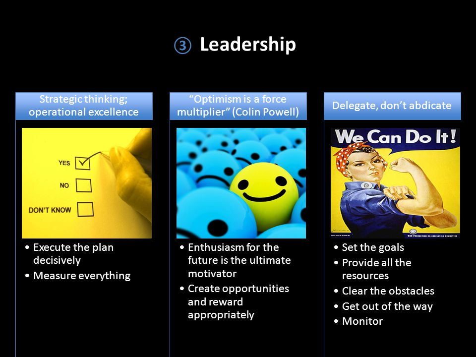 ③ Leadership Execute the plan decisively Measure everything Strategic thinking; operational excellence Enthusiasm for the future is the ultimate motivator Create opportunities and reward appropriately Optimism is a force multiplier (Colin Powell) Set the goals Provide all the resources Clear the obstacles Get out of the way Monitor Delegate, don't abdicate