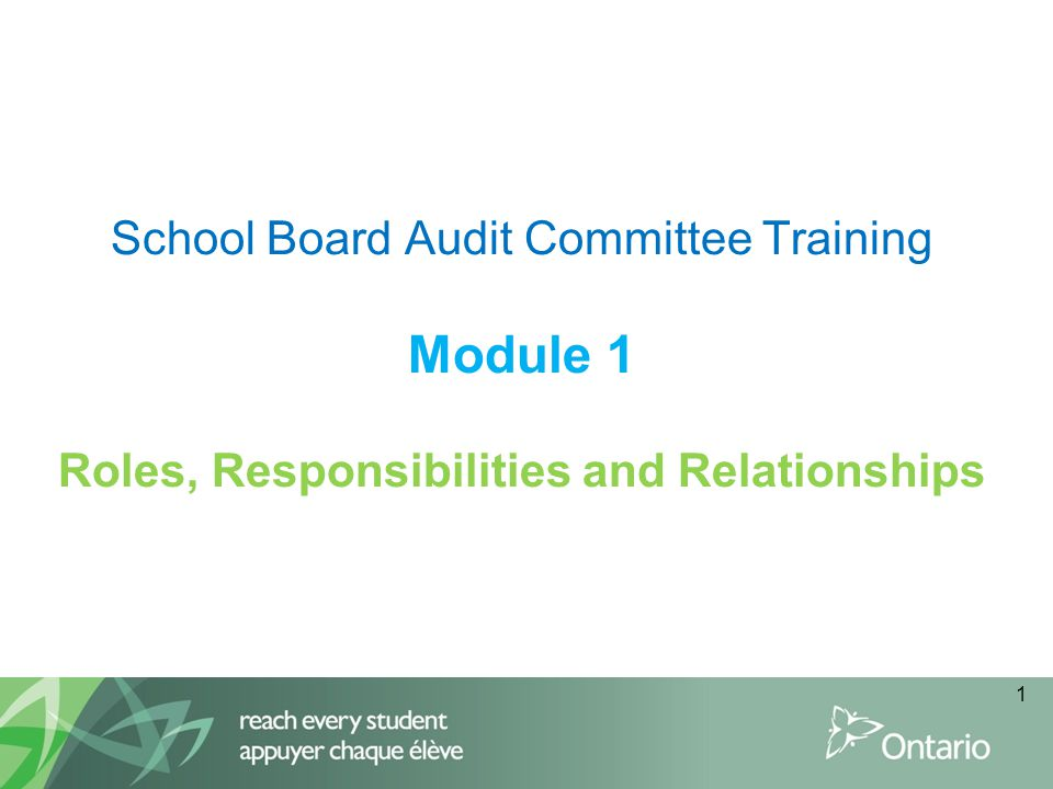 School Board Audit Committee Training Module 1 Roles, Responsibilities and Relationships 1