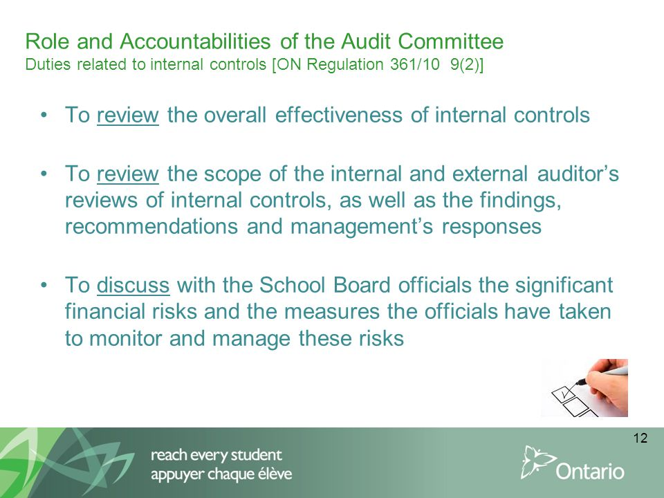 Role and Accountabilities of the Audit Committee Duties related to internal controls [ON Regulation 361/10 9(2)] To review the overall effectiveness o