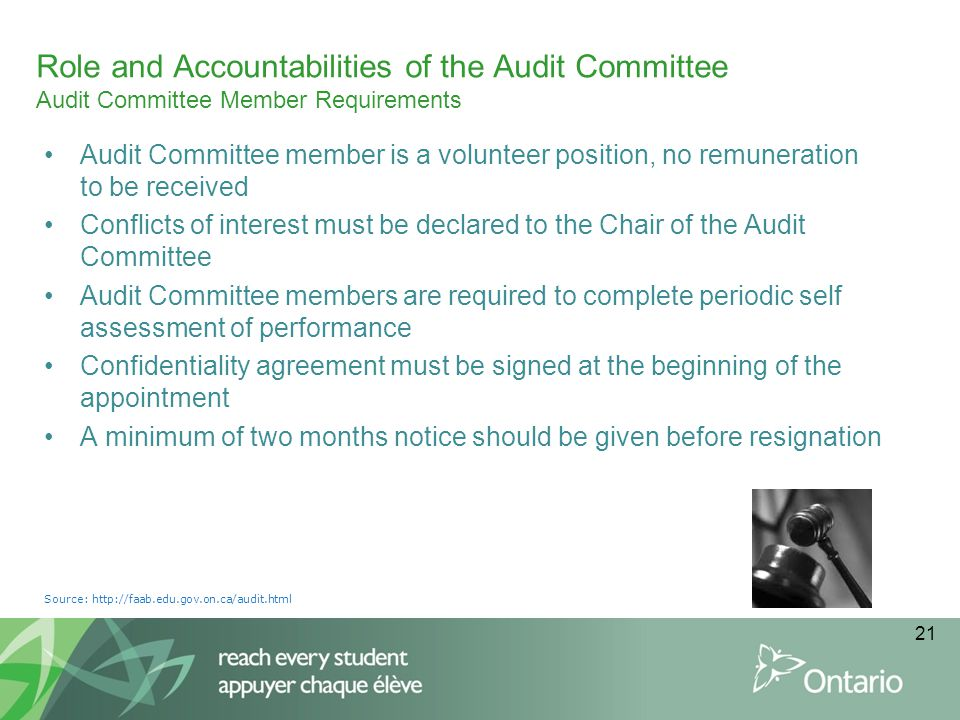Audit Committee member is a volunteer position, no remuneration to be received Conflicts of interest must be declared to the Chair of the Audit Commit
