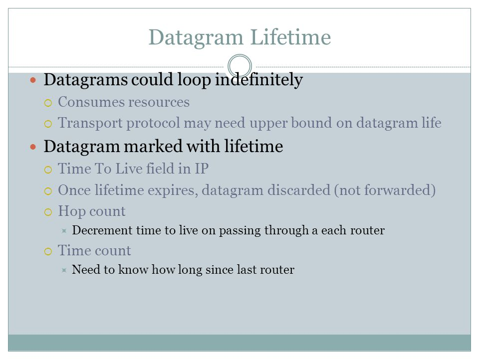 Datagram Lifetime Datagrams could loop indefinitely  Consumes resources  Transport protocol may need upper bound on datagram life Datagram marked with lifetime  Time To Live field in IP  Once lifetime expires, datagram discarded (not forwarded)  Hop count  Decrement time to live on passing through a each router  Time count  Need to know how long since last router