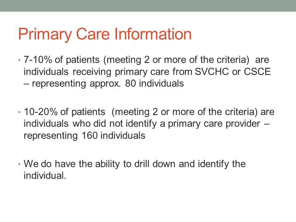 Primary Care Information 7-10% of patients (meeting 2 or more of the criteria) are individuals receiving primary care from SVCHC or CSCE – representing approx.