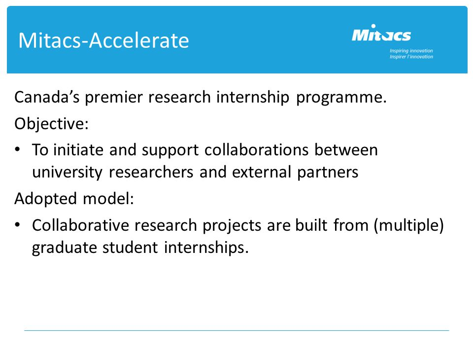 Mitacs-Accelerate Canada's premier research internship programme.