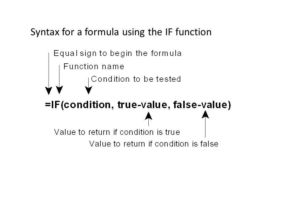Syntax for a formula using the IF function