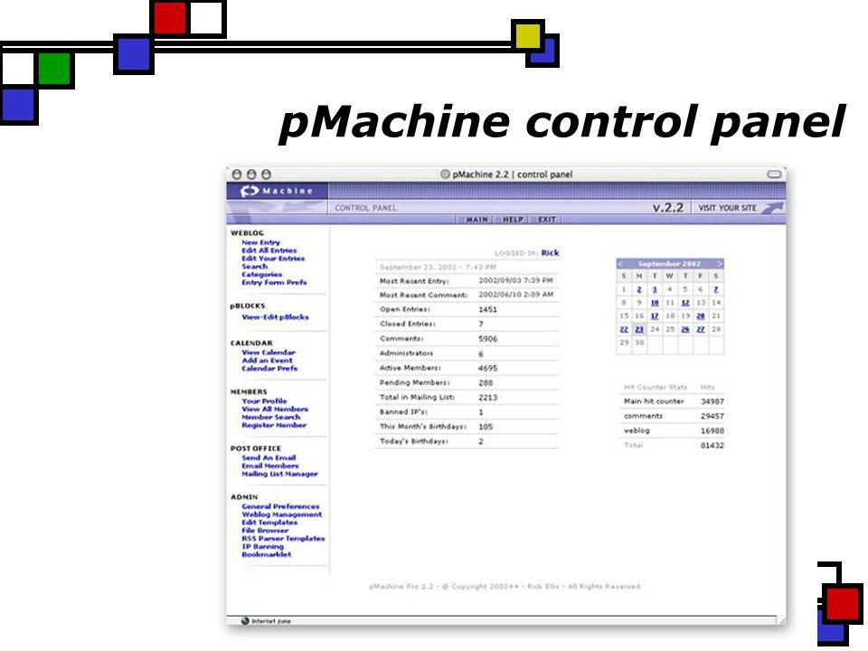 pMachine control panel