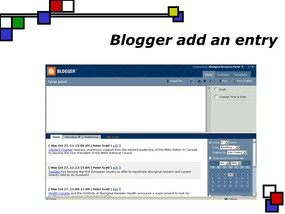 Blogger add an entry